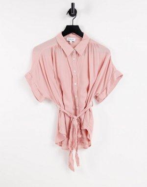 Рубашка на пуговицах с завязкой талии -Розовый цвет Gilli