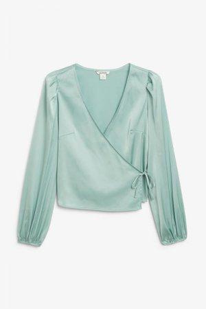 Атласная блуза с запахом Monki. Цвет: бирюзовый