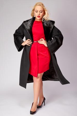 Длинное черное пальто большого размера с норкой Heresis. Цвет: черный