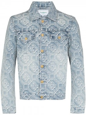 Джинсовая куртка с жаккардовым логотипом Casablanca. Цвет: синий