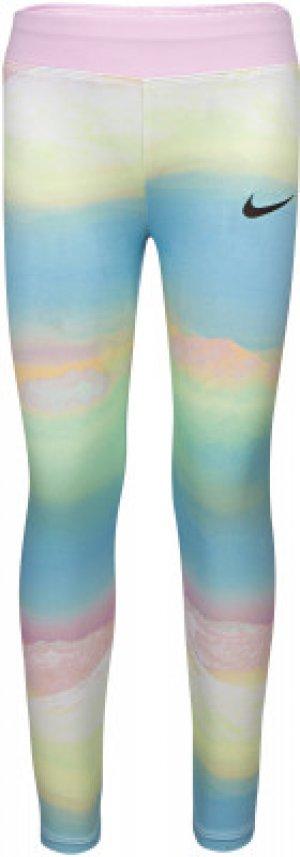 Легинсы для девочек AOP, размер 110 Nike. Цвет: белый