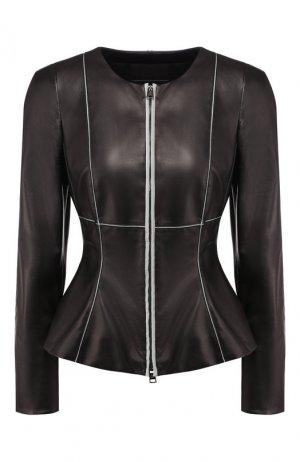 Кожаная куртка Giorgio Armani. Цвет: чёрный