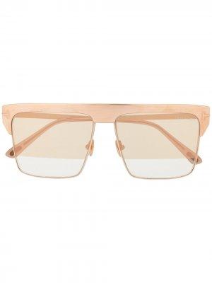 Солнцезащитные очки в квадратной оправе TOM FORD Eyewear. Цвет: золотистый