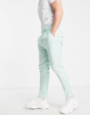 Мятно-зеленые классические брюки суженного книзу кроя изо льна -Зеленый цвет ASOS DESIGN