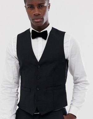 Однотонный приталенный жилет -Черный цвет French Connection