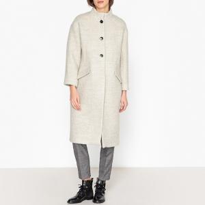 Пальто длинное из полушерстяной ткани CADIZ BA&SH. Цвет: светло-серый