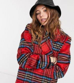 Длинное классическое пальто в клетку Wednesdays Girl-Красный Wednesday's Girl
