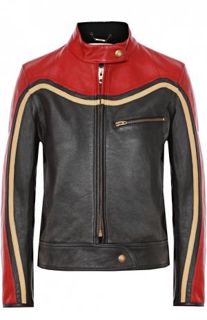 Укороченная кожаная куртка с контрастной отделкой Chloé. Цвет: черный
