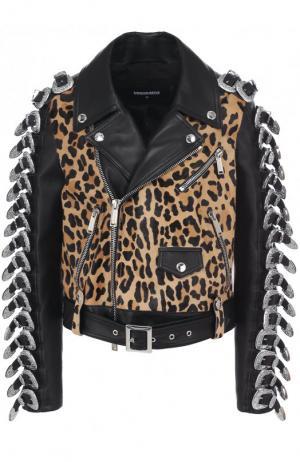 Кожаная куртка с косой молнией и декорированной отделкой Dsquared2. Цвет: черный