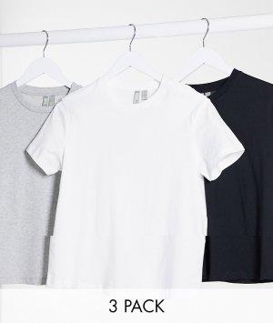 Набор из 3 футболок органического хлопка с круглым вырезом ultimate ASOS DESIGN
