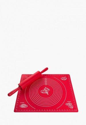 Коврик для запекания Elan Gallery со скалкой. Цвет: красный
