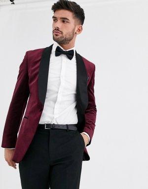 Бордовый бархатный блейзер -Красный Burton Menswear