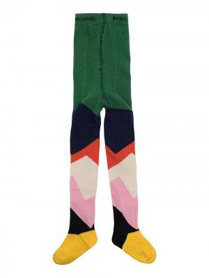 Трикотажные колготки в стиле колор-блок Bobo Choses. Цвет: зеленый