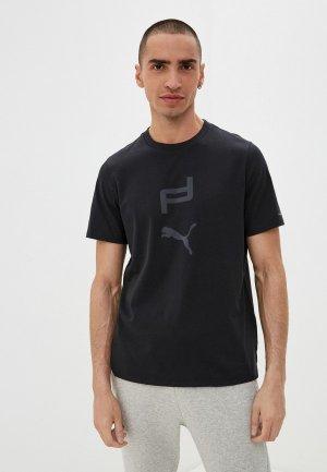 Футболка PUMA M PD Graphic Tee. Цвет: черный