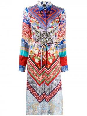 Платье-рубашка миди с принтом Pinko. Цвет: красный