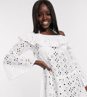 Пляжное платье с открытыми плечами -Белый Anmol
