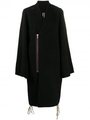Пальто со смещенной молнией и V-образным вырезом Rick Owens. Цвет: черный