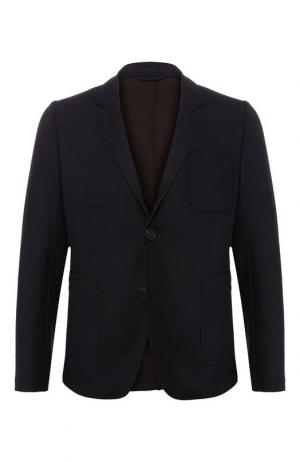 Однобортный пиджак из шерсти Ami. Цвет: темно-синий