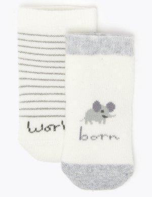 Комплект хлопковых носков с надписью Рожденный в 2020-м году (2 пары) Marks & Spencer. Цвет: белый микс