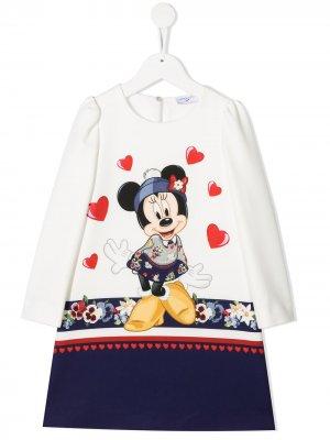 Платье с длинными рукавами и принтом Minnie Mouse Monnalisa. Цвет: белый
