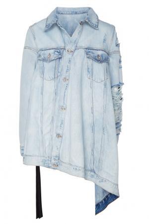 Асимметричная джинсовая куртка оверсайз Unravel Project. Цвет: синий
