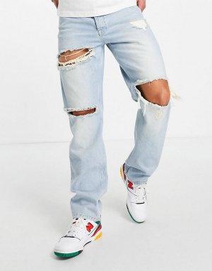 Прямые джинсы выбеленного оттенка в стиле 90-х с рваной отделкой -Голубой ASOS DESIGN