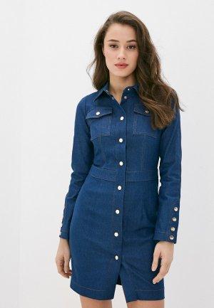 Платье джинсовое Bezko. Цвет: синий