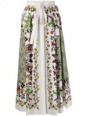 Юбка миди с цветочным принтом Givenchy. Цвет: белый