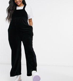 Черный вельветовый комбинезон с перекрестными бретельками ASOS DESIGN Maternity-Черный цвет Maternity