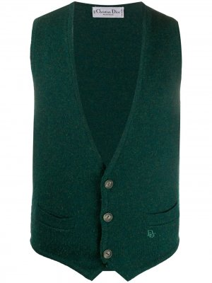 Трикотажный жилет 1990-х годов Christian Dior. Цвет: зеленый