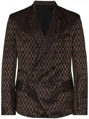 Двубортный пиджак в клетку Haider Ackermann. Цвет: коричневый