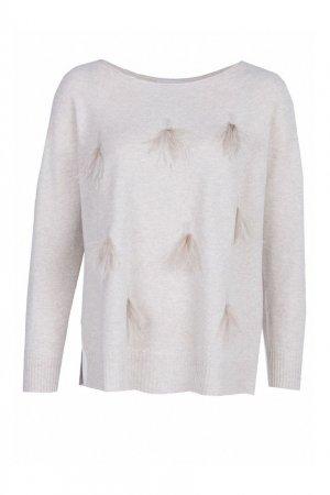 Бежевый пуловер с отделкой из перьев Fabiana Filippi