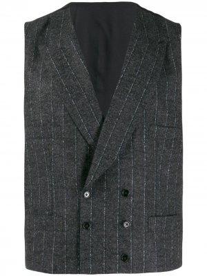 Двубортный жилет в тонкую полоску Dolce & Gabbana. Цвет: серый