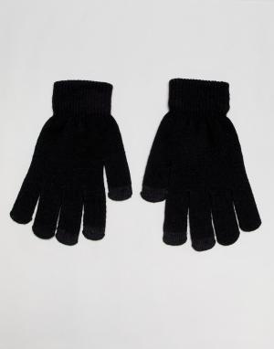 Черные перчатки с отделкой для сенсорных устройств SVNX-Черный 7X