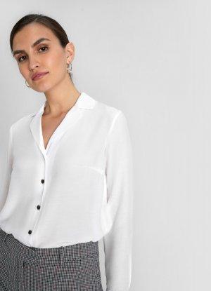 Блузка из вискозы с отложным воротником O`Stin. Цвет: белый