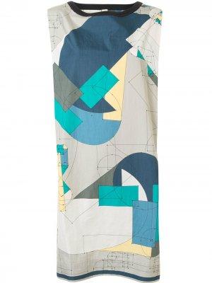 Платье-рубашка с геометричным принтом Hermès. Цвет: серый