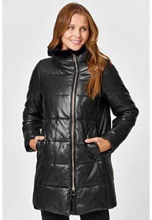 Утепленная кожаная куртка с отделкой мехом кролика La Reine Blanche