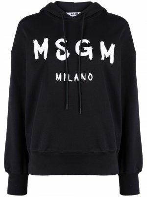 Худи оверсайз с логотипом MSGM. Цвет: черный