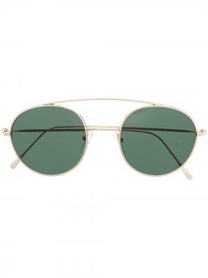 Солнцезащитные очки-авиаторы с затемненными линзами Eleventy. Цвет: золотистый