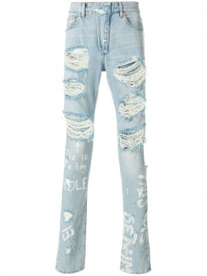 Рваные джинсы Ih Nom Uh Nit. Цвет: синий