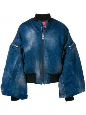 Джинсовая куртка с рукавами летучая мышь Diesel Red Tag. Цвет: синий