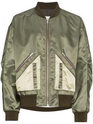 Куртка-бомбер свободного кроя Maison Margiela. Цвет: зелёный