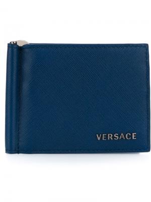 Складная визитница Versace. Цвет: синий