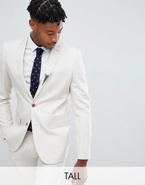 Приталенный пиджак из ткани с добавлением льна Farah Wedding-Бежевый Smart
