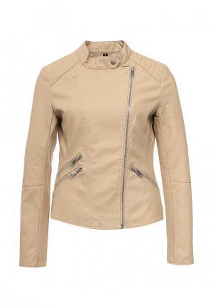 Куртка кожаная Adrixx. Цвет: бежевый