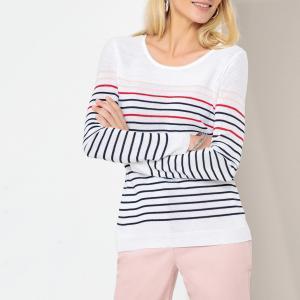 Пуловер в полоску с круглым вырезом из тонкого трикотажа ANNE WEYBURN. Цвет: белый в полоску