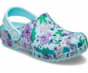 Сабо для девочек CROCS Preschool Classic Floral Clog Ice Blue арт. 206146. Цвет: ice blue