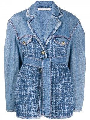 Комбинированная джинсовая куртка с поясом Philosophy Di Lorenzo Serafini. Цвет: синий