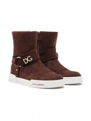 Ботинки с логотипом Dolce & Gabbana Kids. Цвет: коричневый