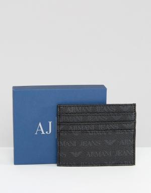 Визитница со сплошным принтом логотипа Armani Jeans. Цвет: черный